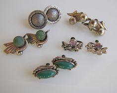 Lot Of Vintage Early Taxco Silver Earrings. Five Pairs Screw Backs. Modernist. Mayan Calendar. Amethyst. Malachite. Blue Green Gemstones by MercyMadge on Etsy