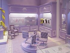'Young' Versace boutique in Milan... Proves you can't have too much lilac purple. #Versace #Purple #kids