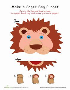 First Grade Paper Projects Worksheets: Lion Paper Bag Puppet