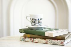 Hand painted porcelain tea cup and saucer   Book  A  by roootreee