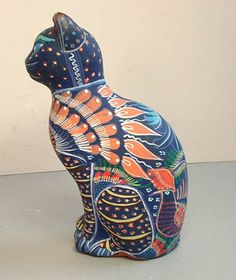Mexican Pottery - Blue Cat