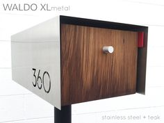 Waldo XL(metal finish) is a larger post mounted mailbox with clean, modern  lines and finished off with a high-end and super durable metal exterior while allowing for delivery of larger mail and small parcels.  Custom addressnumbers arelaser cutinto the metal shell to reveal the  inner shell behind. Numbers are cut into both sides for every order unless  specified otherwise.  This regulation large size mailbox (USPS size T3/C3)is crafted from  hand-picked pieces sourced from local…