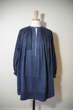 Antique French 19th C Indigo Linen Patched Biaude Chore Smock Workwear Shirt | eBay