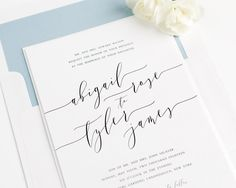 Wedding Invitation - Romantic Calligraphy Invitation - Dusty Blue - Ethereal - Romantic Calligraphy Wedding Invitations - Sample Set