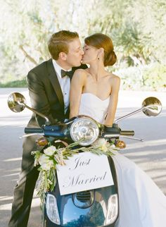 If you're not into the idea of being chauffeured into the sunset on your wedding day, ride away on a motorcycle, Vespa or tandem bike. You'll get frame-worthy photos and a wonderful memory to look back on. Vespa Wedding, Wedding Getaway Car, Romantic Getaway, Wedding Exits, Wedding Photos, Wedding Day, Wedding Venues, Free Wedding, Perfect Wedding