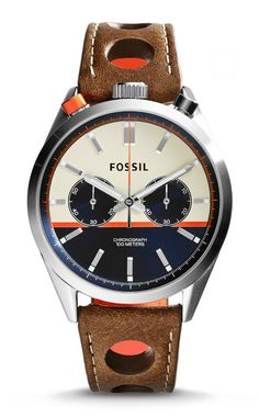 The bull-head case design is a classic. Fossil has taken this unique design and remade it as its own with the Del Rey Chronograph.