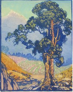 Eucalyptus, 1929 by Frances Hammell Gearhart (b. 1869-1958), Californian artist (occasionally taught by Charles H. Woodbury) known for her colour woodcuts of the Sierras, the Pacific Coast, and the area around Big Bear Lake. She described sentinel trees, groves of eucalyptus, pines, oaks and Monterey cypress as well as valleys and canyons. http://www.francesgearhart.com/ Tags: Helen Elstone, Tree, Leaves, Distance, Landscape, Rocks