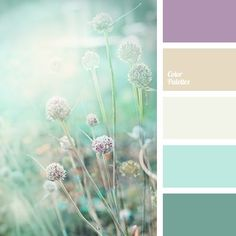 Gamma of natural pastel shades: lilac, beige-gray, gray-white, light blue, green-blue. This colour solution suits well kitchen or living room design.