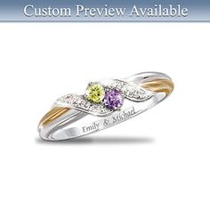 "4-Diamond ""Embrace"" Personalized Engraved Birthstone Ring."