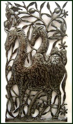 "The Animals Came Two By Two - Haitian Metal Design - Home Accent - 17""x 34"" - $85.95  -  Bible Scene - Steel Drum Metal Art from  Haiti - Interior Decor or Garden Décor   * Found at  www.HaitiMetalArt.com"
