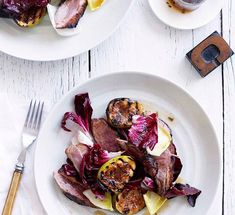 Australian Gourmet Traveller recipe for duck breast with figs and burnt honey and lavender sauce. Fig Recipes, Duck Recipes, Meat Recipes, Dinner Recipes, French Recipes, Savoury Recipes, Delicious Recipes, Recipies, Cooking Recipes