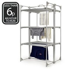 Dry-Soon Deluxe 3 Tier Heated Clothes Airer - Airers at Lakeland Heated Clothes Airer, Clothes Drying Racks, Clothes Dryer, Heated Clothing, Roll Up Doors, Laundry Dryer, Hanging Bar, Shelf Design, Closet Organization