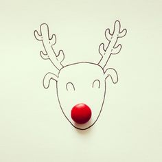 Rudolph the red-nosed reindeer illustration with red candy