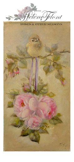 A  baby bird & tea rose wedding ball  Original by HelenFlont