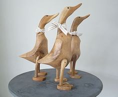Hand Carved Wooden Ducks - sculptures & ornaments