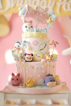Cake from a Disney's Tsum Tsum Inspired Birthday Party via Kara's Party Ideas | KarasPartyIdeas.com | The Place for All Things Party! (13)
