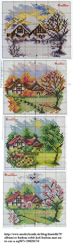 I like the four seasons idea of cross-stitch wall hangings. Perhaps, if I have too much time on my hands one day...