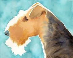 Airedale Terrier dog art print from watercolor painting by pet artist Rachelle Smith