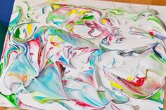Messy Marbled Rainbows: Painting with Shaving Cream