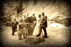 Group photo of the bride, groom and their children at St. Louis Canyon. Photo by Kathy Casstevens.