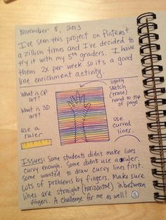 This is a great idea for keep track of art ideas either for students or just some things you may want to try on your own. It gives you a source to come back to and samples of the ideas. Once you h...