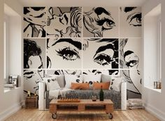 ohpopsi Black And White Pop Art Wall Mural