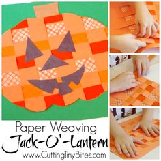 Easy fall or Halloween craft for kids. Paper weaving pumpkin or jack-o'-lantern. Great fine motor work for preschool or elementary!