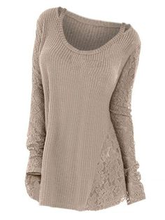 Plus Size Long Sleeves Lace Panel Cutout T-Shirt Spring Fall Casual Solid Tunic Tee Ladies Tee Tops Big Size Pullover, Light Khaki / XL Plus Size Sweaters, Long Sweaters, Sweaters For Women, T Shirts For Women, Clothes For Women, Bikini, Plus Size Tops, Plus Size Women, Lace Outfit