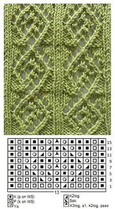 ideas for knitting lace sweater yarns Lace Knitting Stitches, Crochet Stitches Patterns, Knitting Charts, Crochet Chart, Lace Patterns, Loom Knitting, Stitch Patterns, Knit Crochet, Easy Knitting
