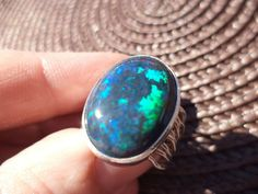 5 3/4 Sterling 18x14 SOLID AUSTRALIAN ANDAMOOKA (BLACK) OPAL Ring *Blues