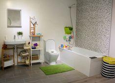 Propuesta de diseño para el baño de nuestras viviendas de obra nueva. Combinación de tres porcelánicos y bañera. Se puede visitar en nuestro piso piloto. Alcove, Bathtub, Bathroom, Proposal, Chalets, Kitchens, Interiors, Houses, Standing Bath