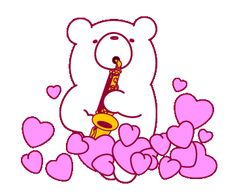 Love Heart Gif, Cute Love Gif, Line Cony, Corazones Gif, Cute Winnie The Pooh, Icon Gif, Cute Love Cartoons, Cute Bee, Beautiful Gif