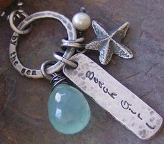 Beach Girl hand stamped fine sterling silver necklace