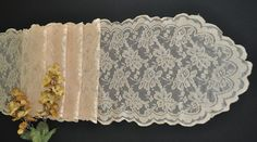 "13.5""x108"" Lace Table Runners - Champagne 90628(1pc/pk) - www.weddinglinensdirect.com"