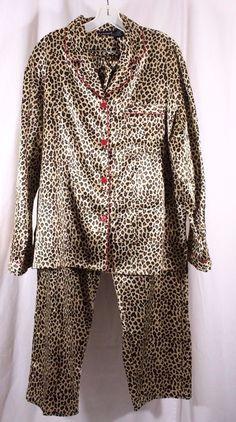 Bay Studio Size XL Cheetah Leopard Print L/S Satin Pajama Set #baystudio #PajamaSets