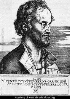 A.D. 1526 Portrait Of Philip Melanchthon by Albrecht Durer - www.albrecht-durer.org