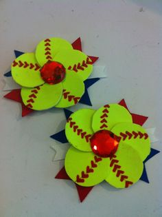 Softball Flower Hair Bow set of 2 - REAL softball via Etsy