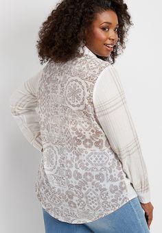 b230d6f60e Plus size mixed plaid button down shirt