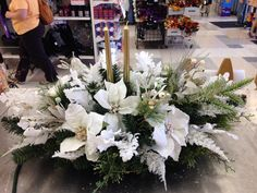 Crystal white Christmas arrangement 2014 Christmas Floral Designs, Christmas Flower Decorations, Christmas Flower Arrangements, Christmas Table Centerpieces, Floral Arrangements, Christmas Wreaths, Christmas Crafts, Christmas Candle Holders, Christmas Candles