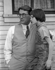 Atticus (Gregory Peck) and Scout in To Kill A Mockingbird