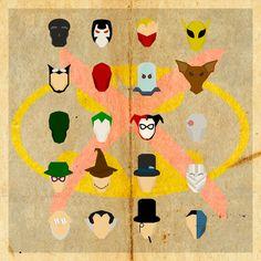 minimalist portraits of batman's enemies.