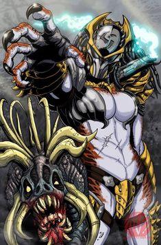 On the hunt : predator Predator Hunting, Alien Vs Predator, Fantasy Races, Fantasy Warrior, Alien Character, Character Art, Female Yautja, Aliens Colonial Marines, Alien Design