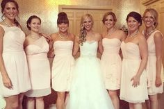 A real Vow wedding: Love seeing our gorgeous bride Suzanne & her bridesmaids in @jimhjelm and @alvinavalenta blush dresses. Discover more bridesmaid dresses to rent at vowtobechic.com