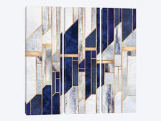 A contemporary, geometric, art deco design in shades of grey and blue. The shapes are outlined in gold. Blue winter Sky Wall Art by Elisabeth Fredriksson from Great BIG Canvas. Shop metallic abstract wall decor from Great BIG Canvas. Motif Art Deco, Art Deco Design, Glass Design, Framed Art Prints, Painting Prints, Canvas Prints, Art Paintings, Portrait Paintings, Abstract Portrait