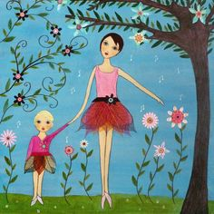 mother daughter paintings images | Mother and Daughter Painting Whimsical Folk Art by Sascalia on imgfave