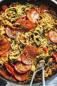 10-Minute Pizza Zucchini Noodles with Pepperoni - Juicy, savory, and so delish! A complete low carb meal you will feel great about eating!