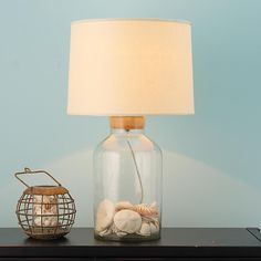 Fillable Glass Jug Table Lamp. Could make this out of a vase.