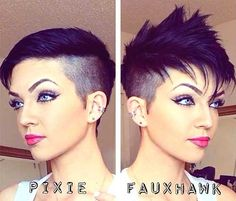 Faux Hawk Shaved Sides Pixie                              …