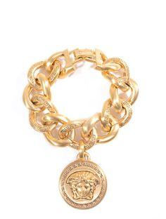 Versace Gold-plated emblem coin bracelet on shopstyle.com