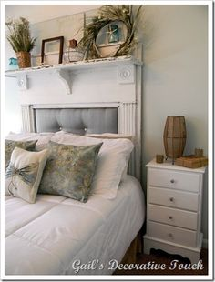 Turn an old fireplace frame into a stunning shabby chic headboard. Love this!
